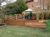 Grand steps accessing a raised deck