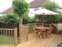 Raised softwood deck