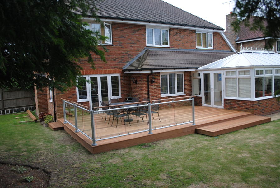 Yellow Balau Deck Boards. Note the use of Fusion Decking Balustrade