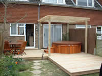 Softwood decking and pergola